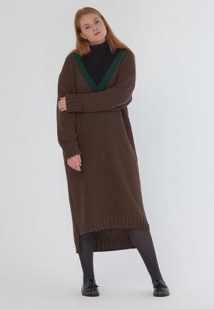 Платье W&B. Цвет: коричневый