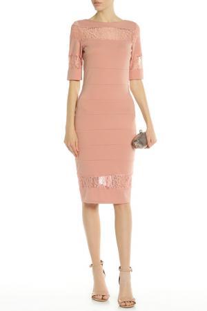 Платье с кружевным низом и горловиной PAPER DOLLS. Цвет: blush