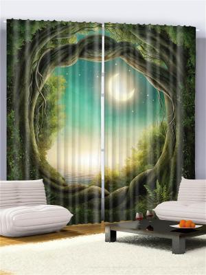 Комплект фотоштор бирюзовый Арка из переплетённых веток, полумесяц в зелёном небе, 290*265 см Magic Lady. Цвет: бирюзовый, коричневый, бежевый, желтый, зеленый