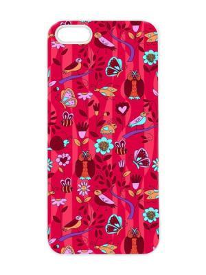 Чехол для iPhone 5/5s Птички на красном Арт. IP5-071 Chocopony. Цвет: красный, черный