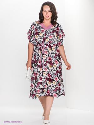 Платье Klimini. Цвет: темно-красный, розовый, белый