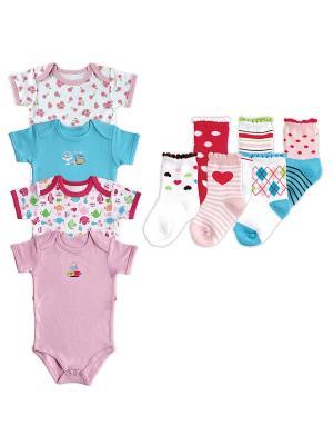 Комплект Носочки, 6 пар + Боди к/р, 4 шт., Luvable Friends. Цвет: бирюзовый, розовый