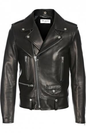 Косуха с карманами на молнии Saint Laurent. Цвет: черный