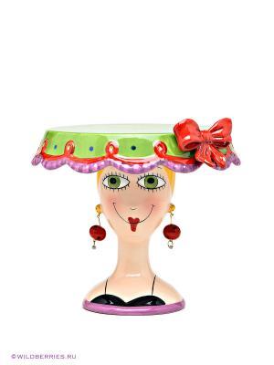 Тортовница малая Дама Pavone. Цвет: зеленый, красный, кремовый