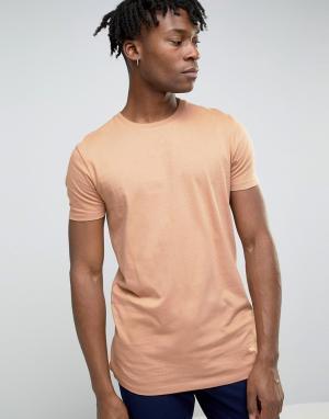 ASOS Длинная коричневая футболка. Цвет: рыжий