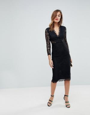 ASOS Кружевное платье-футляр миди с длинными рукавами. Цвет: черный