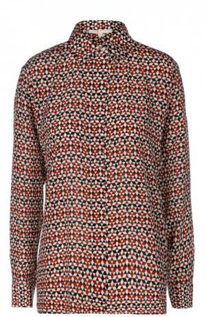 Прямая шелковая блуза с контрастным принтом Maje. Цвет: разноцветный