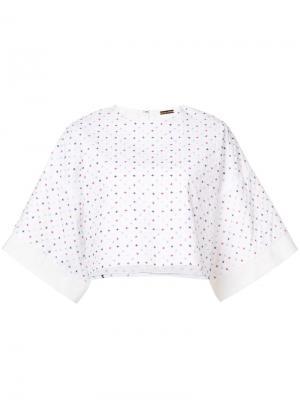Укороченная футболка с вышивкой Adam Lippes. Цвет: белый