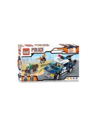 Конструктор Машина Полиция с фигуркой, 184 дет. ENLIGHTEN. Цвет: синий, серый, желтый, белый
