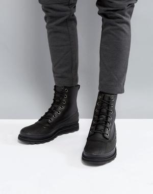 Sorel Черные ботинки из водонепроницаемой кожи Madson. Цвет: черный