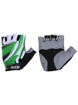 Велоперчатки STG. Цвет: зеленый, белый