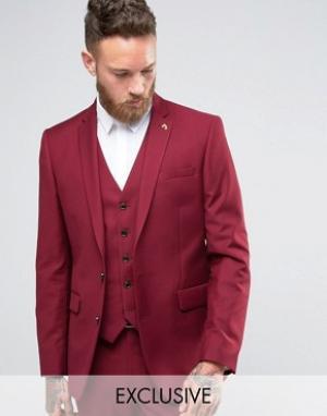 Farah Бордовый зауженный пиджак. Цвет: красный