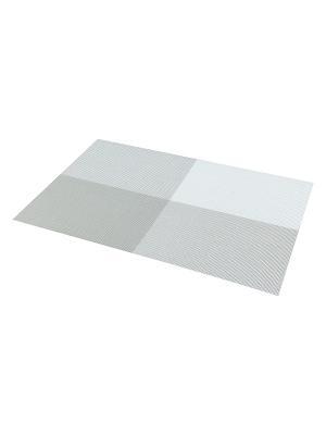 Набор 4-х салфеток Бело-серые Elan Gallery. Цвет: серый