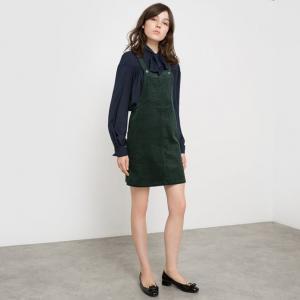Платье с глубоким вырезом без рукавов из вельвета MADEMOISELLE R. Цвет: зеленый,черный