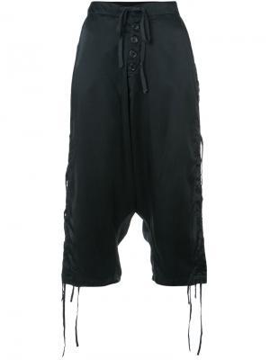 Укороченные декорированные брюки Greg Lauren. Цвет: чёрный