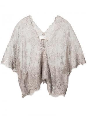 Кружевная блузка с V-образным вырезом Loyd/Ford. Цвет: телесный