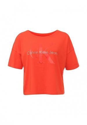 Футболка Calvin Klein Jeans. Цвет: оранжевый