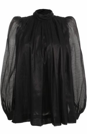 Блуза с воротником-стойкой и рукавами-фонарик Dries Van Noten. Цвет: черный