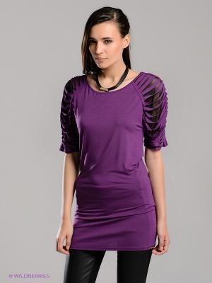 Платье-туника miss money. Цвет: фиолетовый, черный