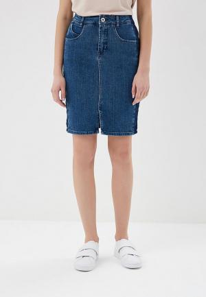 Юбка джинсовая Ichi. Цвет: синий