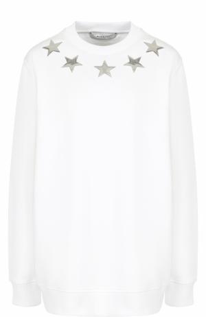 Однотонный хлопковый свитшот с круглым вырезом Givenchy. Цвет: белый