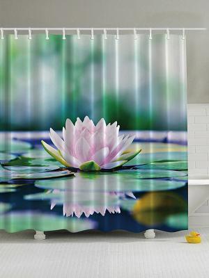 Фотоштора для ванной Водная гладь, 180*200 см Magic Lady. Цвет: зеленый, белый, розовый, синий