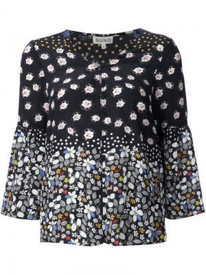 Блузка c V-образным вырезом Suno. Цвет: чёрный
