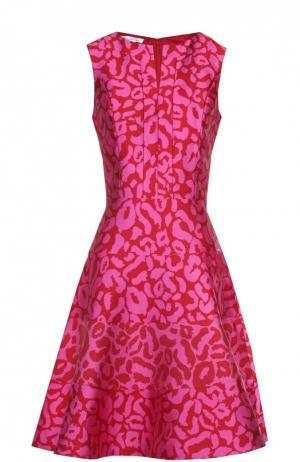 Приталенное мини-платье с контрастным принтом Oscar de la Renta. Цвет: розовый