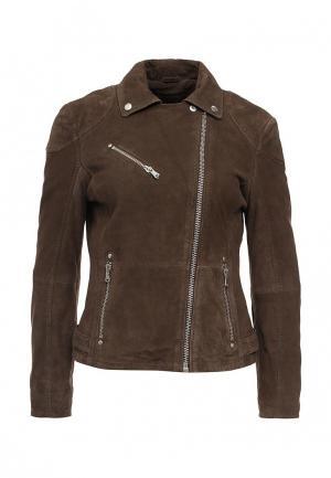 Куртка кожаная Trussardi Jeans. Цвет: коричневый