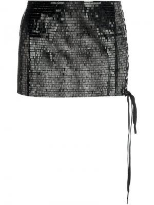 Короткая юбка с пайетками Anthony Vaccarello. Цвет: чёрный