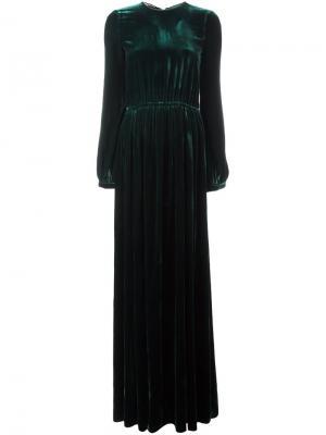 Бархатное платье в пол Rochas. Цвет: зелёный