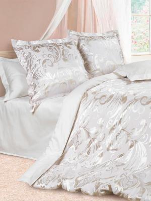 Комплект постельного белья Джорджия ECOTEX. Цвет: белый, серебристый