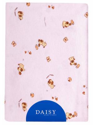 Пеленка Трикотаж 90х120 Собачки роз DAISY. Цвет: розовый, светло-коричневый, бежевый