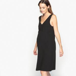 Платье с V-образным вырезом спереди и сзади для периода беременности La Redoute Collections. Цвет: черный