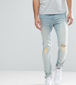 ASOS Голубые выбеленные джинсы скинни с рваной отделкой TALL. Цвет: синий