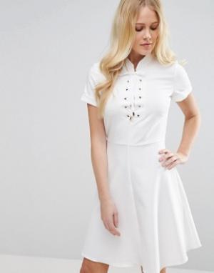 Closet London Платье с короткими рукавами и шнуровкой. Цвет: темно-синий