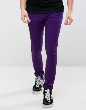 ASOS Фиолетовые суперузкие чиносы. Цвет: фиолетовый