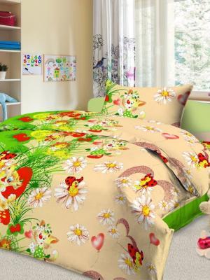Комплект в кроватку Ясли BGR-01, простыня на резинке, бязь Letto. Цвет: зеленый, желтый