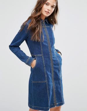 Gestuz Джинсовое платье на молнии. Цвет: синий