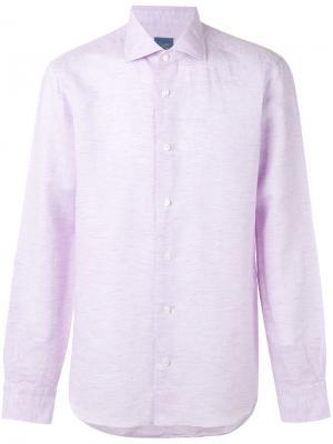 Классическая однотонная рубашка Barba. Цвет: розовый и фиолетовый