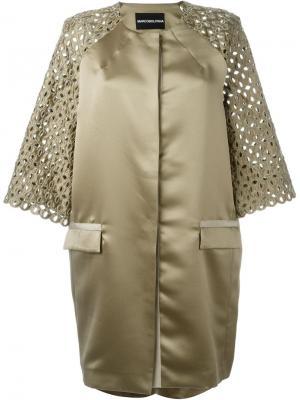 Пальто с кружевными рукавами Marco Bologna. Цвет: зелёный