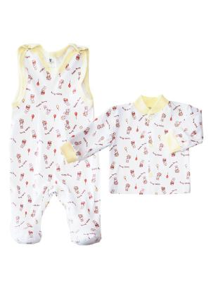 Комплект одежды: кофточка, полукомбинезоны Коллекция Happy Bunny КОТМАРКОТ. Цвет: желтый
