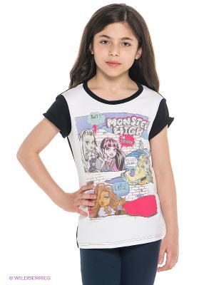 Футболка Monster High. Цвет: белый, черный