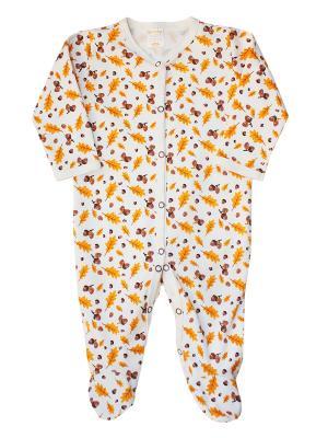 Комбинезон для малыша КОТМАРКОТ. Цвет: светло-коричневый, желтый, оранжевый