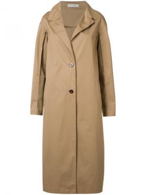 Однобортное пальто Barbara Casasola. Цвет: коричневый