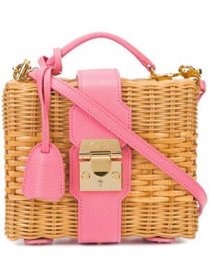 Плетеная сумка-тоут Mark Cross. Цвет: розовый и фиолетовый