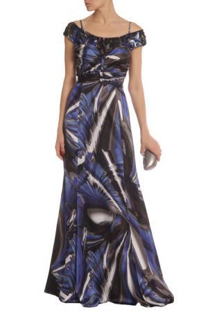 Платье вечернее Clips. Цвет: синий, рисунок
