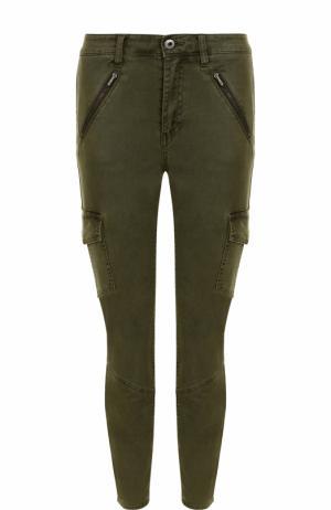Укороченные джинсы с потертостями Ag. Цвет: хаки