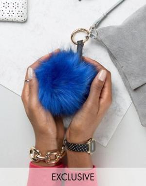 My Accessories Брелок для ключей с синим помпоном из искусственного меха Accessori. Цвет: синий
