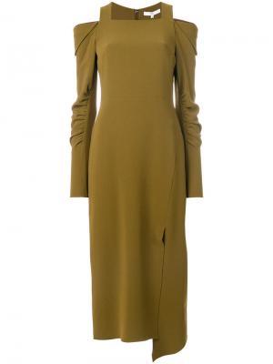 Платье с прорезями на плечах Tibi. Цвет: зелёный